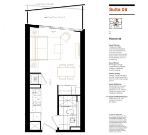 Toronto's smallest bachelor condo floor plan 289 square feet