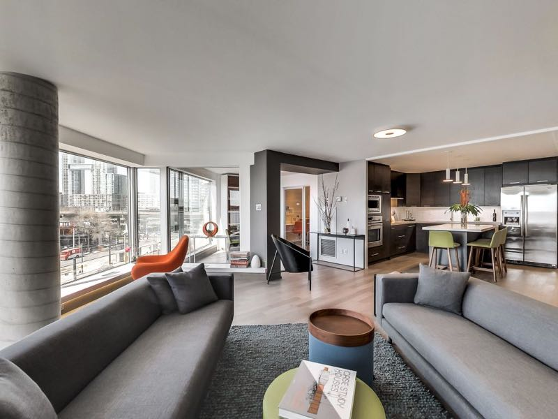 401 queens quay w 502 open concept living dining and kitchen