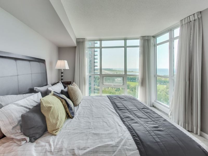 231 Fort York Blvd 1603 master bedroom with views of Lake Ontario